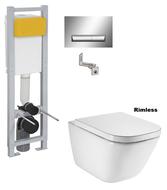 Система инсталляции для унитаза Imprese узкая 3 в 1 i8130 + Унитаз подвесной Roca Gap Clean Rim A34H47C000 с сиденьям Slow-closing
