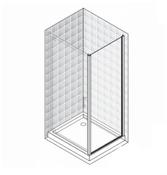 Стенка боковая душевая Novellini Zephyros 90 см (профиль хром, прозрачное стекло) ZEPHYRF881K