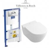 Инсталляция Villeroy & Boch 92246100 с унитазом Subway 2.0 56001001 и клавишей 92248561 хром