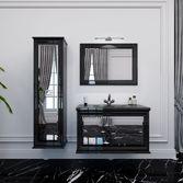 AMANDE Тумба 900 белая/черная+Раковина стеклянная КВАДРО 900, MS1591139
