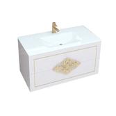CHRISTINE Тумба 1000 белая/черная золото/серебро+Раковина стеклянная ЭЛИС 1000, MS1591193